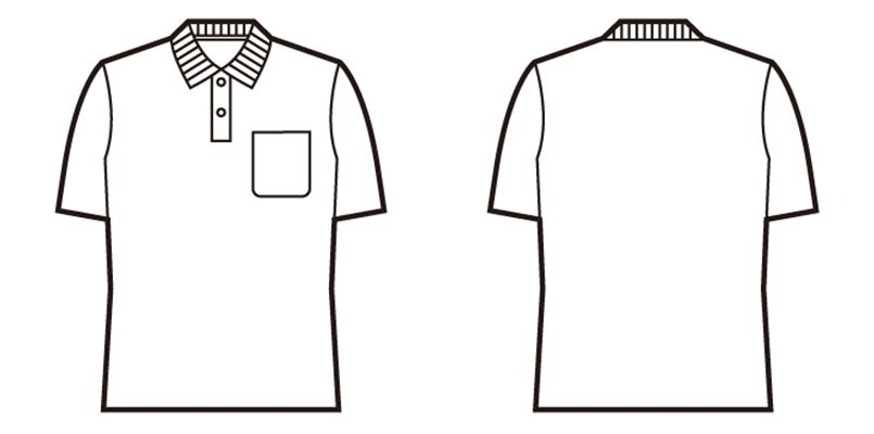 自重堂 85854 鹿の子半袖ポロシャツ[胸ポケット有り] ハンガーイラスト・線画
