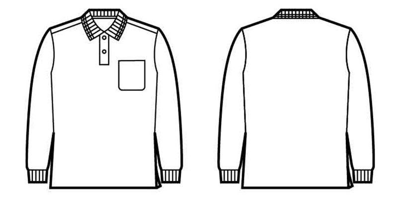 自重堂 85864 吸汗速乾 裏綿長袖ポロシャツ(胸ポケット有り) ハンガーイラスト・線画
