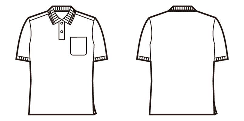 自重堂 85874 吸汗速乾 裏綿半袖ポロシャツ(胸ポケット有り) ハンガーイラスト・線画