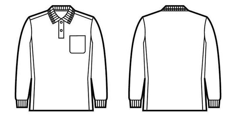 自重堂 85884 吸汗速乾長袖ポロシャツ(胸ポケット有り) ハンガーイラスト・線画
