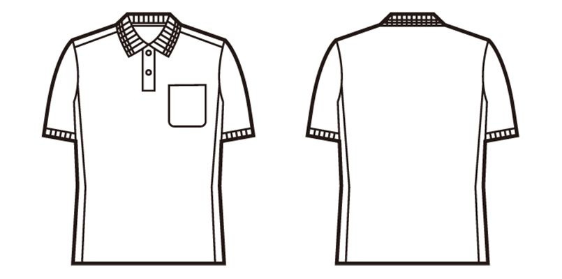 自重堂 85894 吸汗速乾半袖ポロシャツ(胸ポケット有り) ハンガーイラスト・線画