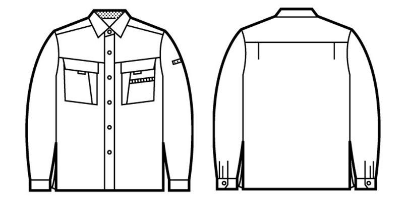 自重堂 85904 まるごとストレッチ 長袖シャツ ハンガーイラスト・線画
