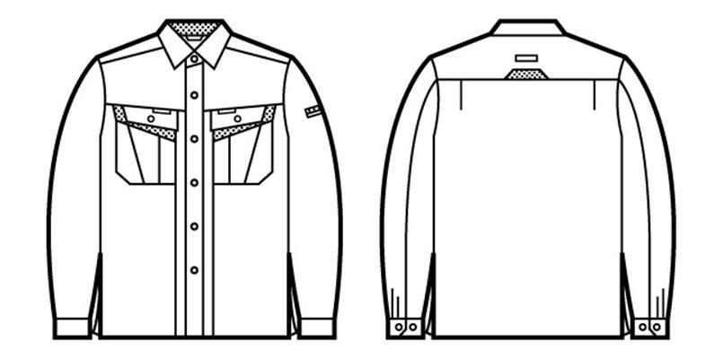 自重堂 86004 エコ製品制電長袖シャツ(JIS T8118適合) ハンガーイラスト・線画