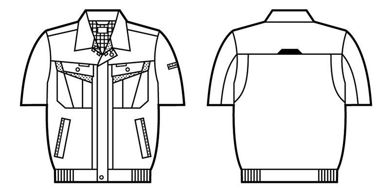 自重堂 86010 [春夏用]エコ製品制電半袖ブルゾン(JIS T8118適合) ハンガーイラスト・線画