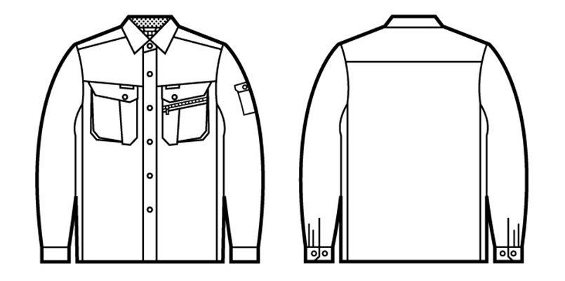 自重堂 86204 [春夏用]接触冷感 長袖シャツ ハンガーイラスト・線画