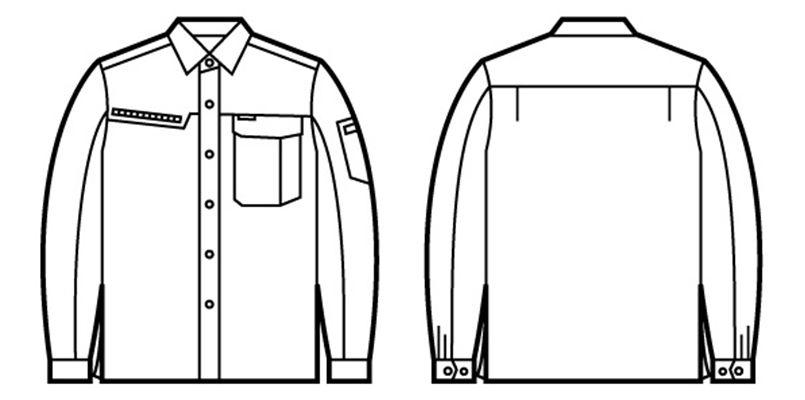 自重堂 86304 [春夏用]ドライオックス吸汗速乾長袖シャツ ハンガーイラスト・線画