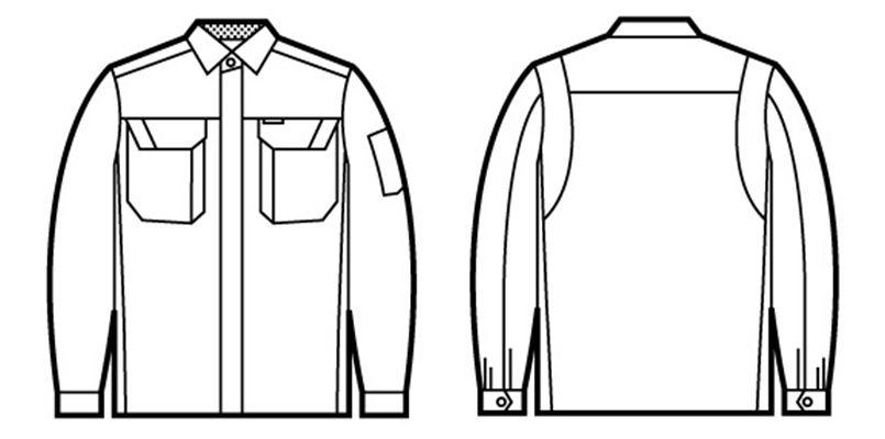 自重堂 86404 [春夏用]ブレバノプラスツイル難燃長袖シャツ ハンガーイラスト・線画