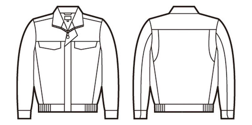 自重堂 86500 [春夏用]ポケットレス製品制電長袖ブルゾン ハンガーイラスト・線画