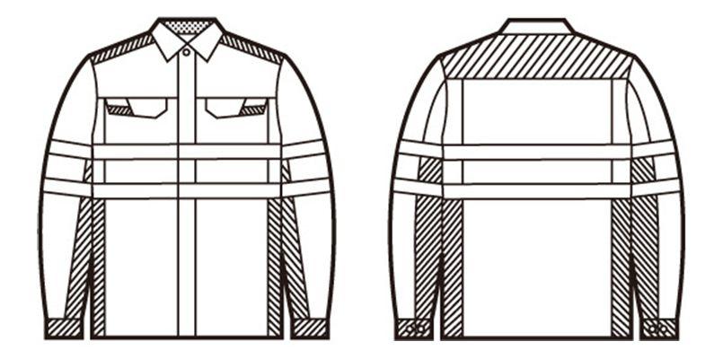 自重堂 86704 高視認性安全服 長袖シャツ ハンガーイラスト・線画