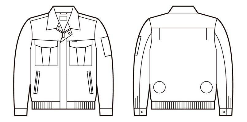 自重堂 87020 [春夏用]空調服 綿100% 長袖ブルゾン ハンガーイラスト・線画