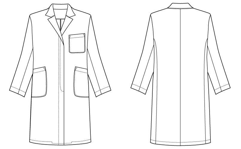 自重堂 WH10203 WHISEL レディースシングルコート(女性用) ハンガーイラスト・線画
