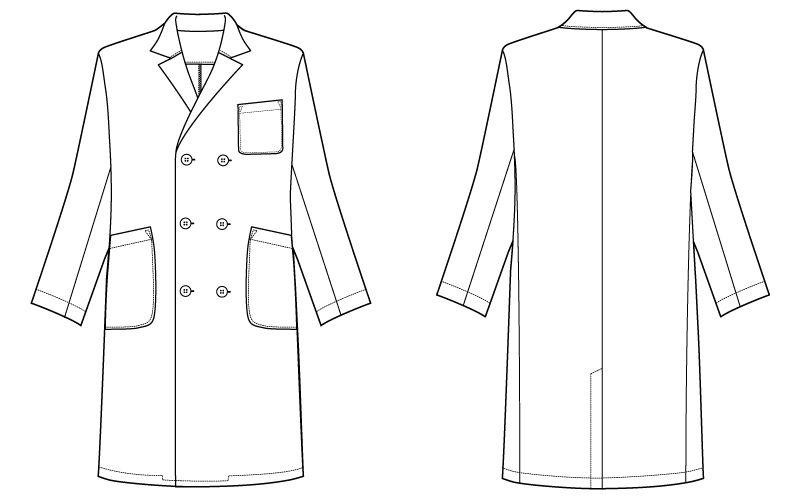 自重堂 WH10217 WHISEL メンズダブルコート(男性用) ハンガーイラスト・線画