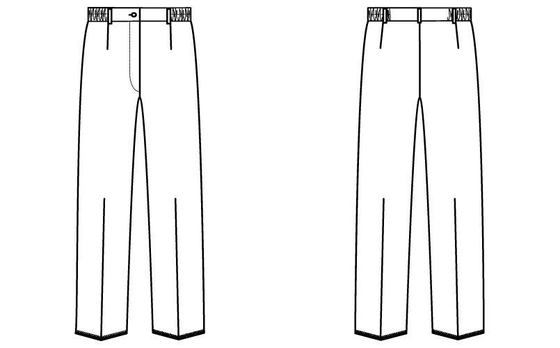 自重堂 WH10312 WHISEL レディースパンツ すっきり ウエストゴム(両サイド)(女性用) ハンガーイラスト・線画