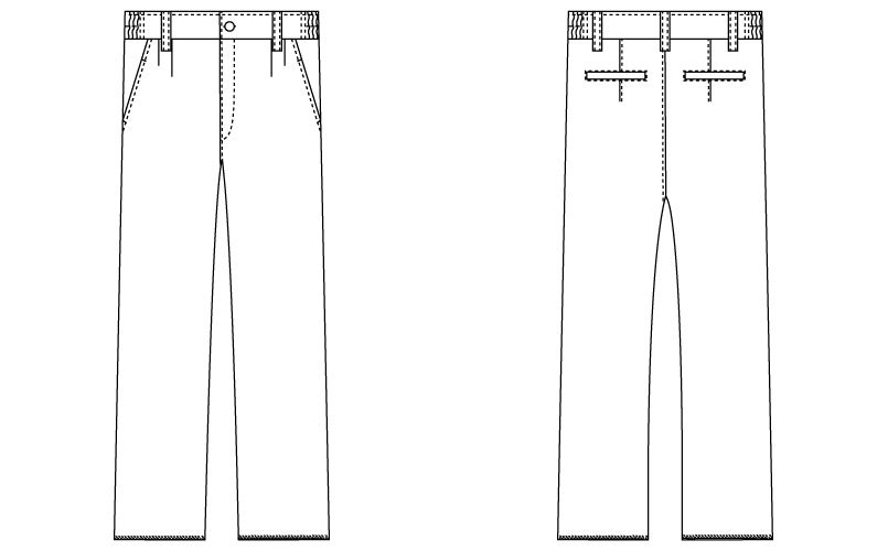 自重堂 WH10416 WHISEL メンズツータックパンツ 股下フリー(男性用) ハンガーイラスト・線画