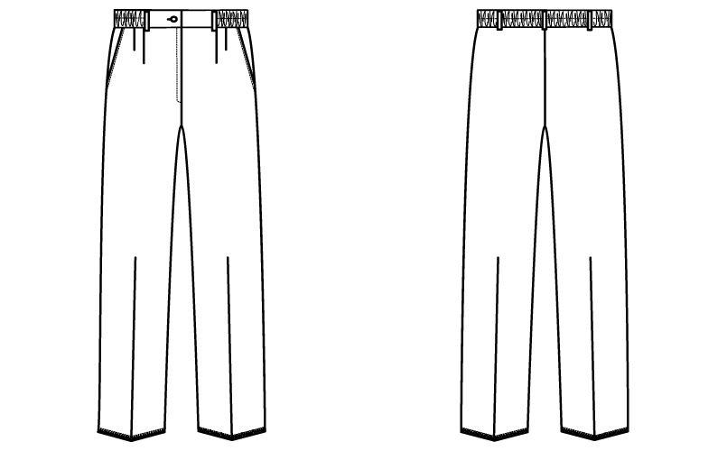 自重堂 WH10642 WHISEL ツータックパンツ(女性用)ゆったり ウエスト総ゴム ハンガーイラスト・線画