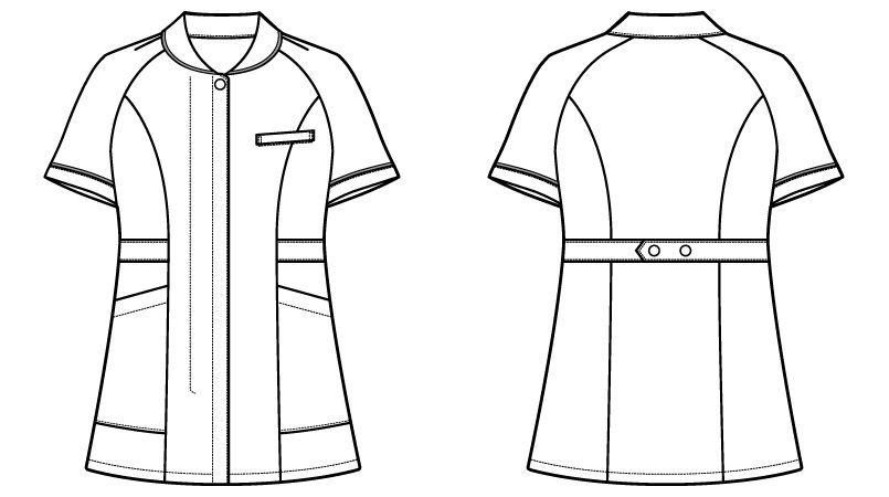 自重堂 WH10701 WHISEL チュニック 小さな襟 パイピング(女性用) ハンガーイラスト・線画
