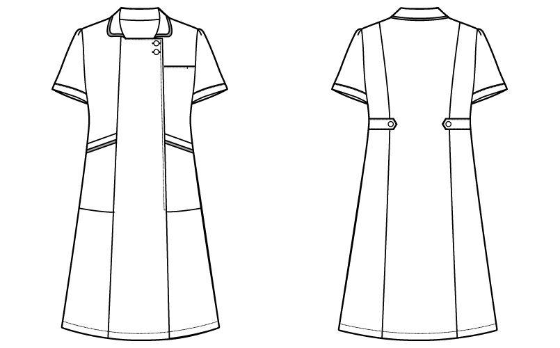 自重堂 WH11200 WHISEL ワンピース ゆったりスクエア襟 パイピング(女性用) ハンガーイラスト・線画