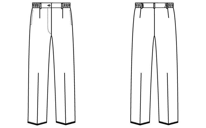 自重堂 WH11212 WHISEL レディースパンツ すっきり ウエストゴム(両サイド) ハンガーイラスト・線画