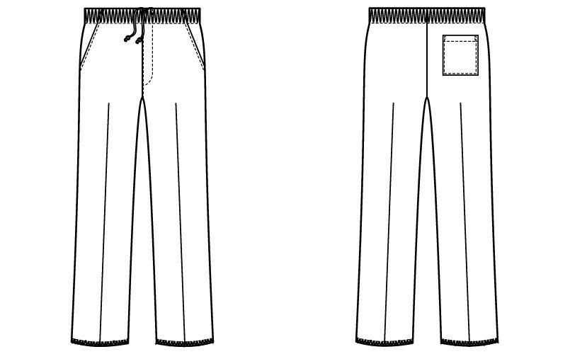 自重堂 WH11486 WHISEL スクラブパンツ(男女兼用)股下フリー ハンガーイラスト・線画