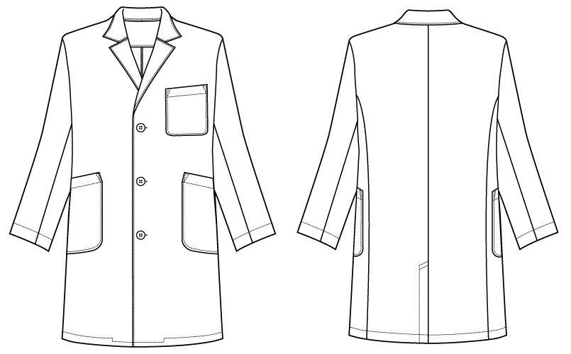 自重堂 WH11507 WHISEL メンズシングルハーフコート(男性用) ハンガーイラスト・線画