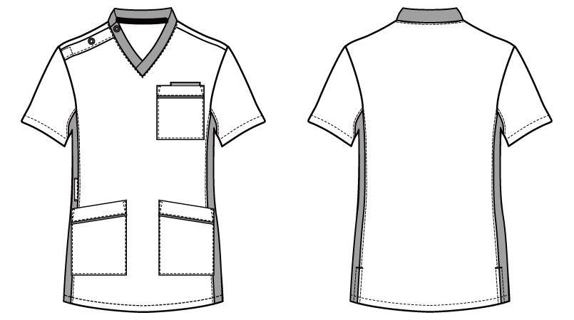 自重堂 WH11685 WHISEL スクラブ(男女兼用)衿と脇が配色 ハンガーイラスト・線画