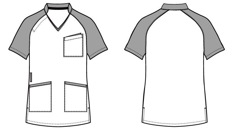 自重堂 WH11785 WHISEL スクラブ(男女兼用)衿と袖が配色 ハンガーイラスト・線画