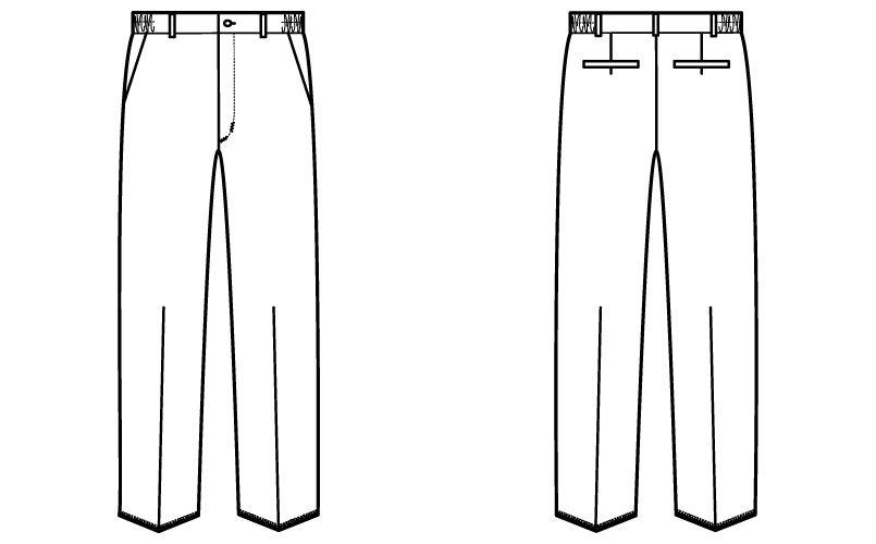 自重堂 WH12006 WHISEL メンズパンツ ウエストゴム(両サイド)(男性用) ハンガーイラスト・線画
