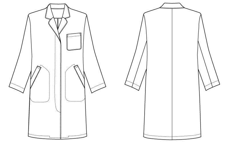 自重堂 WH2212 WHISEL レディースシングルコート(女性用) ハンガーイラスト・線画