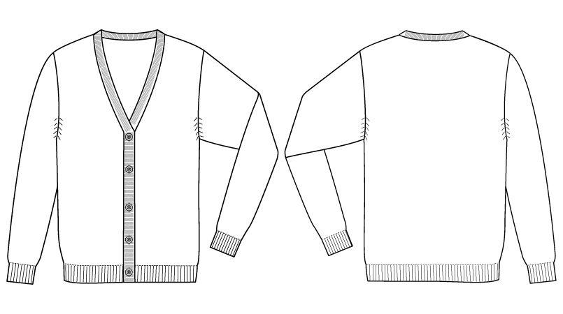 自重堂 WH90019 WHISEL レディースカーディガン(女性用) ハンガーイラスト・線画