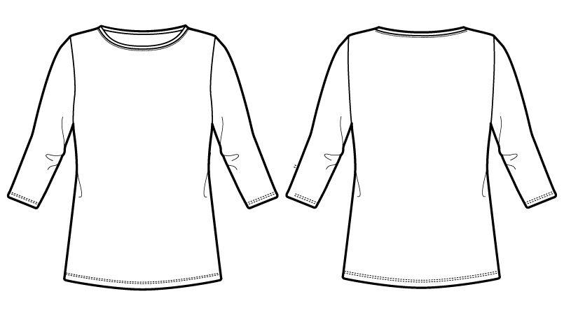 自重堂 WH90029 WHISEL 七分袖インナー(男女兼用) ハンガーイラスト・線画
