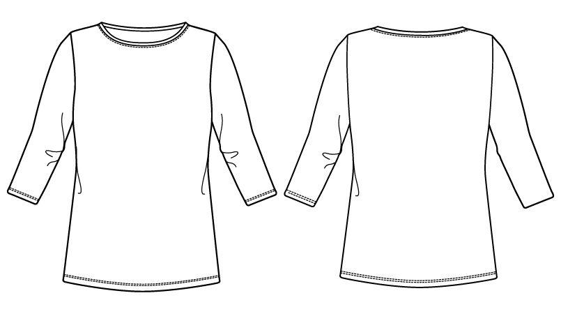 自重堂 WH90129 WHISEL 七分袖起毛インナーTシャツ ハンガーイラスト・線画