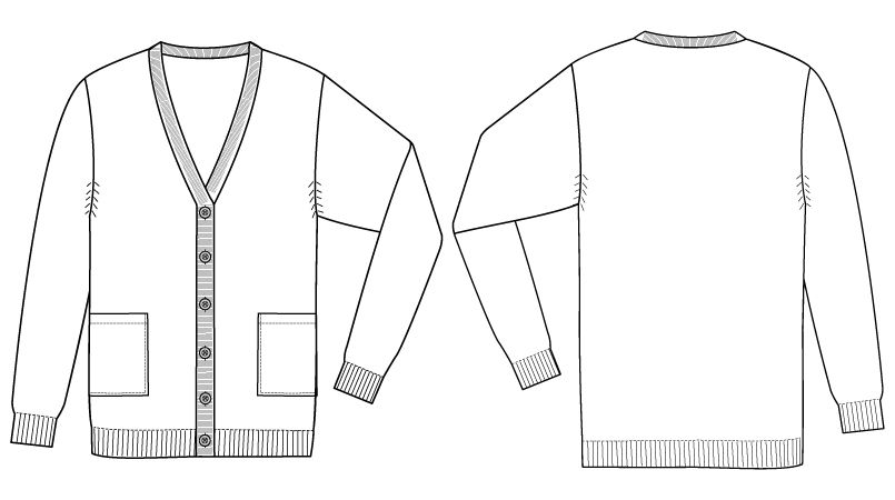 自重堂 WH90219 WHISEL あったかレディースカーディガン(ロング丈)(女性用) ハンガーイラスト・線画