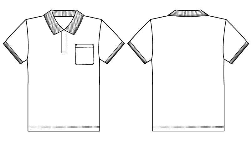 自重堂 WH90318 WHISEL 半袖/ドライポロシャツ(男女兼用) ハンガーイラスト・線画