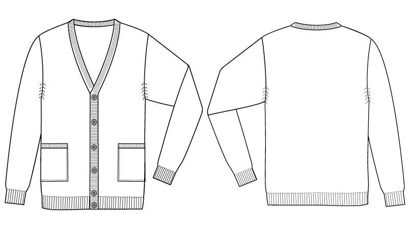 自重堂 WH90419 WHISEL メンズカーディガン(男性用) ハンガーイラスト・線画
