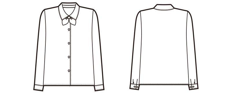 en joie(アンジョア) 01060 [通年]光沢のストライプがシャープで華やかな長袖ブラウス(リボン付) ハンガーイラスト・線画
