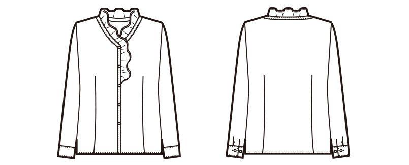 en joie(アンジョア) 01075 [秋冬用]ほどよいフリルが優しい長袖ブラウス[シワになりにくい] ハンガーイラスト・線画