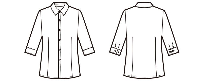 en joie(アンジョア) 01096 [通年]細かいストライプ・高めでシャープな襟元の七分袖ブラウス ハンガーイラスト・線画