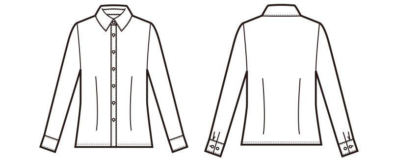 en joie(アンジョア) 01165 [通年]シワになりにくくストレッチで透け防止の長袖ニットシャツ ハンガーイラスト・線画
