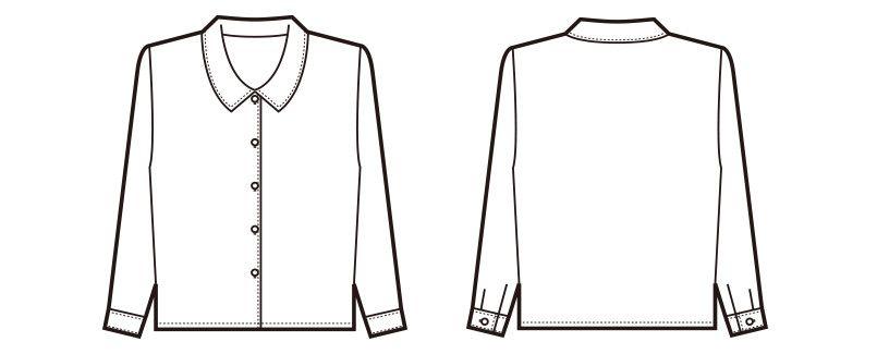 en joie(アンジョア) 0400 [通年]肌触りが心地よい綿混素材の長袖ブラウス ハンガーイラスト・線画