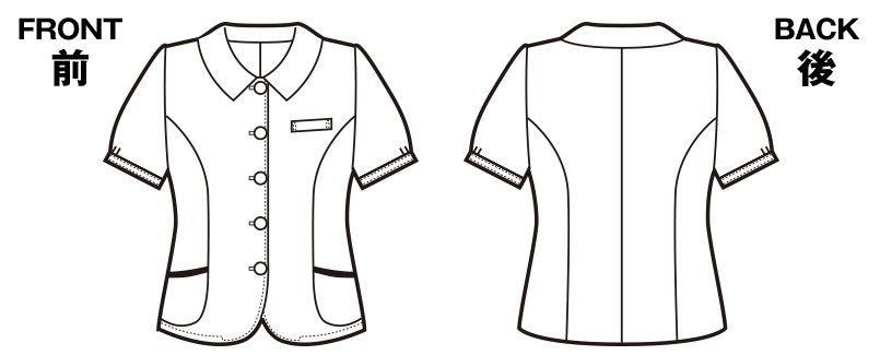 en joie(アンジョア) 26110 [春夏用]ふくらみある綿混素材で快適べたつかないオーバーブラウス チェック ハンガーイラスト・線画