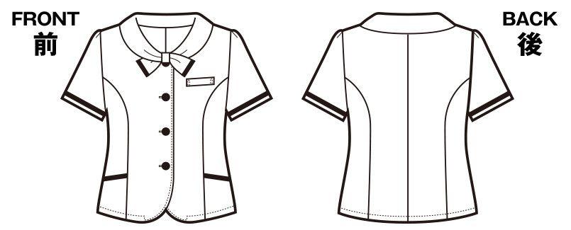 en joie(アンジョア) 26230 [春夏用]可愛さと軽快さを兼ね備えたチェック柄の人気オーバーブラウス ハンガーイラスト・線画