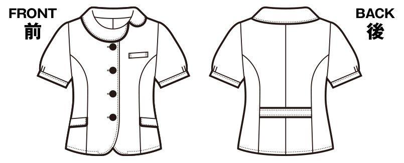 en joie(アンジョア) 26380 [春夏用]ほっこりベージュ×丸襟がかわいい癒し系のチェック柄オーバーブラウス ハンガーイラスト・線画