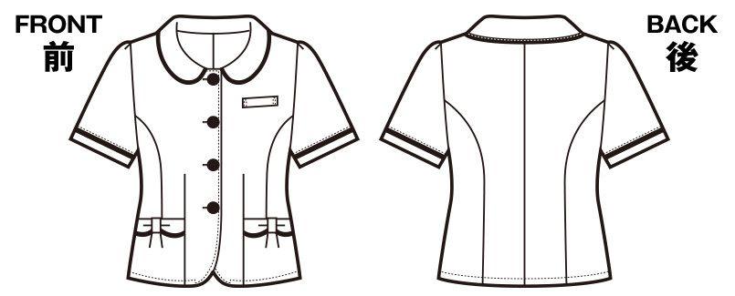 en joie(アンジョア) 26390 [春夏用]丸襟とポケットのリボンがかわいいチェック柄オーバーブラウス ハンガーイラスト・線画
