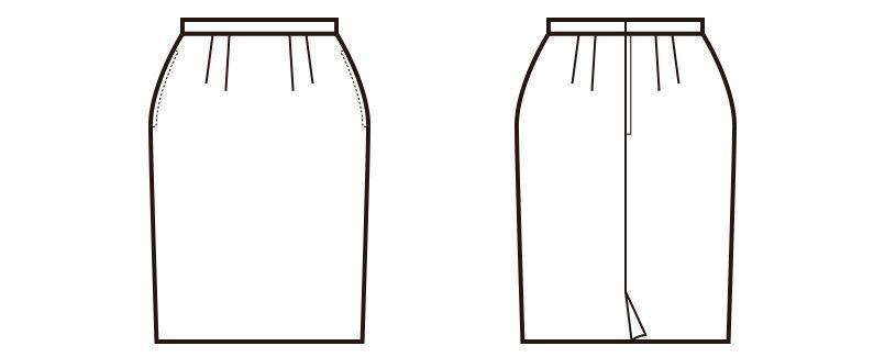 en joie(アンジョア) 51040 [通年]モノトーン調がシックでスタイリッシュなスカート 無地 ハンガーイラスト・線画