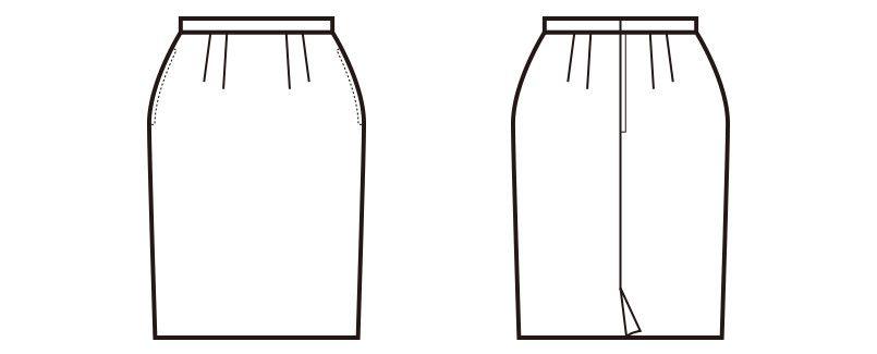 en joie(アンジョア) 51370 [通年]シンプルで使いやすいストレッチのスカート 無地 ハンガーイラスト・線画