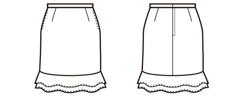 en joie(アンジョア) 51411 [通年]立体感のあるシルエットで快適なティアードスカート 無地 ハンガーイラスト・線画