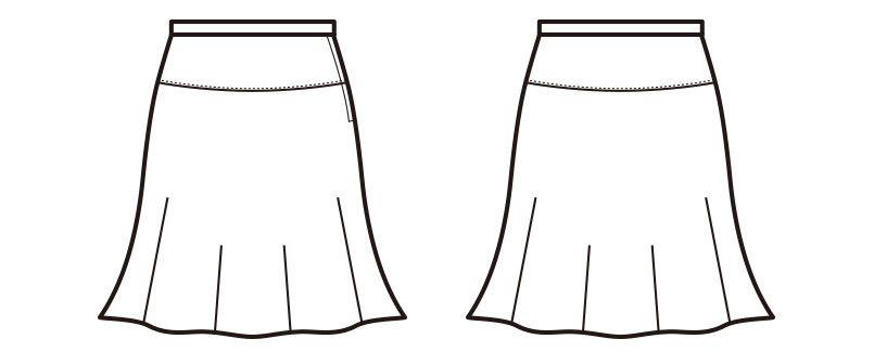 en joie(アンジョア) 51412 美しいシルエットに快適な着心地のフレアースカート 無地 ハンガーイラスト・線画