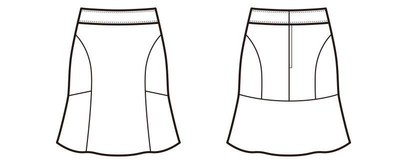 en joie(アンジョア) 51413 [通年]2WAYストレッチで、動きやすさバツグンのマーメイドスカート 無地 ハンガーイラスト・線画