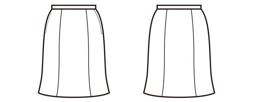 en joie(アンジョア) 51452 [通年]上質素材で美しいラインをキープするマーメイドスカート 無地 ハンガーイラスト・線画