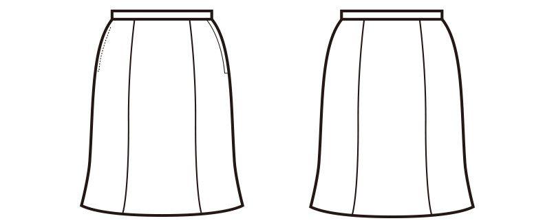 en joie(アンジョア) 51512 [通年]軽くてサラサラ快適なニット素材のマーメイドスカート 無地 ハンガーイラスト・線画